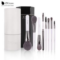 Makyaj Fırçalar Seti Vakfı Eyeliner Kaş Dudak Fırçası Araçları Kozmetik Kitleri Makyaj Kwasten Fırça Beyaz Tutucu ile Set