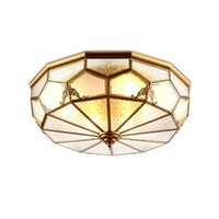 Teto Europeu do Cobre Quarto Acende Teto lâmpada clássica sombra de vidro Varanda Alpendre candeeiros de tecto Mão de solda