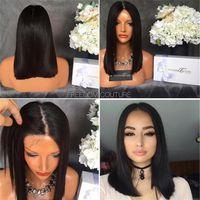 Ön Koparı Kısa Bob Tam Dantel İnsan Saç Peruk Siyah Kadınlar için Düz Brezilyalı Olmayan Hair 130Density Orta Bölüm