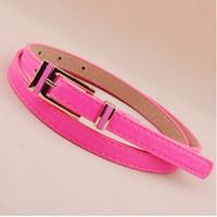 Atacado- Mais novo popular cintos de grife de moda cinturon mujer Punk PU couro pinos de cores brilhantes fivela fina cinta cinto mulheres