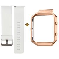 Snabbfrisättning Smart Watch Band för Fitbit Blaze, Classic Armband Strem, Stor storlek Tillgänglig, Vit, Med Rose Gold Frame