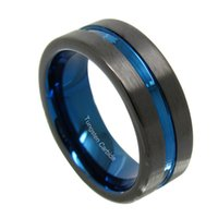 8mm Blue Tungsten Ring Black Brushed Matte Blue Grooved Center Couples Rings Set Free Shipping