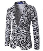 Großhandels- 2017 neue Herrenmode Cool Dance Nachtclub Anzug Jacke Männer Weiß Leopard Leopard Print Jacke Anzug Design Größe XXXL