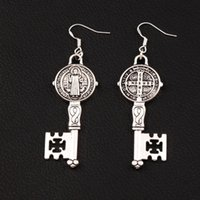 Saint Benedict Medal Cross Smqlivb Key Earrings 925 Silver F...