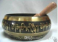 Çin Bronz GLORIOUS ESKI YOGA NADIR TIBETAN SINGING BOWL