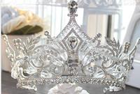 Authentic European Grand Crystal Crowed Crowe Crowe Cadeau De Mariage Robes De Mariage Mariage Mérite d'agir le rôle de la coiffe de la Couronne de la reine