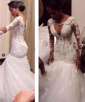 2016 с длинным рукавом кружева русалка свадебные платья сексуальные Смотреть через свадебное платье на заказ