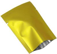 100 Pz / lotto Oro Opaco Sigillo di Calore Foglio di Alluminio Tè Noce Caramella Sacchetto Sottovuoto Sacchetto Open Top Mylar Per Pacchetto del partito Tasca Spedizione gratuita