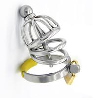 Manliga kyskhetsanordningar Cock Lock Chasity Cages New Lock Design Chastity Approducts med uretriska rör för män S031 Gratis frakt