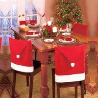 يغطي DHL السفينة كرسي عيد الميلاد بابا نويل ريد هات عشاء ديكور القضية الرئيسية الأوسمة الحلي مستلزمات عشاء الجدول ديكور حزب HH7-253