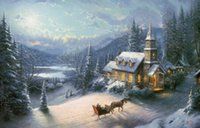 Sunday Evening Sleigh Ride Thomas Kinkade Oil Paintings Art ...