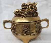 Chinese Brass Dragons Head Statue Incense Burner Censer