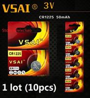 10 stücke 1 los CR1225 3 V lithium li ionen-knopfzelle CR 1225 3 Volt li-ion münze batterien VSAI Kostenloser Versand