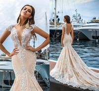 2017 New Sexy Deep V neck Lace Mermaid Wedding Dresses See T...