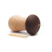 Sostenedor de palillo de madera simple personalizado hongos caja palillo de dientes adornos de escritorio Inicio restaurante decoración regalo Shippng libre ZA3031