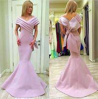 Mnm Couture Pink Fleck großen Bogen Mermaid Prom Abendkleider 2018 von der Schulter plus Größe in voller Länge Dubai Arabisch Abend tragen Kleid