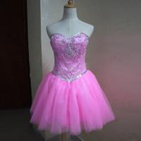 Nuevo vestido de fiesta encantador de las muchachas Vestido de cóctel corto Vestidos de cóctel rosados de las muchachas 2019 Mini vestido de los cristales