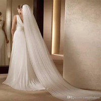 Beyaz Fildişi Düğün Gelin Aksesuarları Gelin Peçe 3 M Uzun Düğün Peçe Tül Katedrali Uzunluğu Düğün Gelin Peçe Tarak