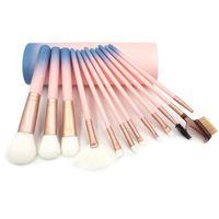 Розовые кисти для макияжа для основания порошковых теней для глаз подводка для глаз для губ горы косметические кисти инструменты 12 шт. Макияж кисти набор с пластиковой коробкой
