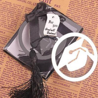 Graduatie cap metalen bladwijzer met elegante zwarte tassel party souvenirs graduate party faovr giften voor gasten