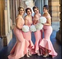2017 뜨거운 새로운 아랍어 신부 들러리 드레스 드레스 아가씨에서 벗어났다 승무원의 하이 낮은 두바이 프릴 스커트 하녀
