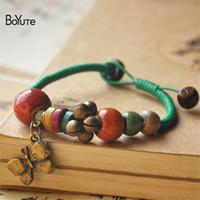 Accesorios pulsera BoYuTe mano bricolaje porcelana perlas de cerámica de cuerda trenzada de las mujeres manera de la pulsera de la vendimia
