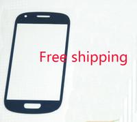 DHL expédition 100 pcs / lot Mobile Téléphone Avant Verre Pour Samsung Galaxy S3 mini I8190 Pièces De Réparation Écran Extérieur Lentille En Verre Noir Blanc Bleu
