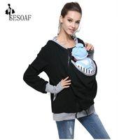 Frauen Hoodies Sweatshirts Großhandel - Frauen Baby Tragen Hoodie Carrier Multifunktionskanguroo Manteljacke für Mama und Tragen