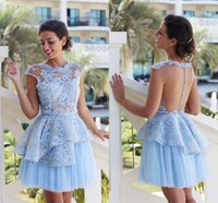 2017 Short Lace Cocktail Dresses Light Sky Blue Tulle Ball G...
