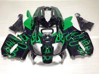 Motorcykel Fairing Kit för Honda CBR 900RR 1996 1997 Green Flames Black Fairings Set för CBR900RR 96 97 OT08