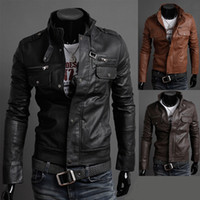 Mens Fashion Faux Jaquetas de couro Designer Casual ajuste outerwear Magro Tops New Coats XS S M L 8961