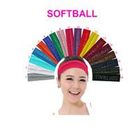 """2 pulgadas Rhinestone """"SOFTBALL"""" Algodón Estiramiento Cintas para el pelo Softbol Cristal Bling Elástico Hairband Sudor Accesorios para el cabello"""
