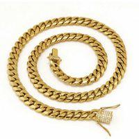 "Acero inoxidable 24 quilates de oro macizo galvanoplastia broche de diamantes CUBAN LINK Collar pulsera para hombres bordear cadenas joyería 24 ""/ 28"" / 30 """
