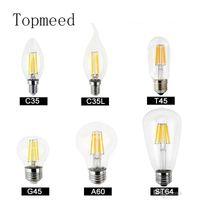 Dim 12w 16w Yüksek Güç Cam küre ampul 110V 220V 240V Retro Edison lamba mum ışıkları açtı 8w ampuller Filament ampul 4w led