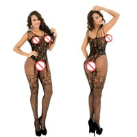 Intimo donna Lingerie Fishnet Floreale crotchless Bodystockings Babydoll pjs Body sexy Lingerie Crotchless Fishnet Bodystocking Collant