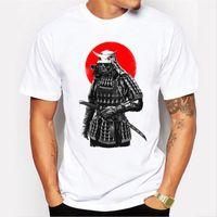 Mais novo 2017 dos homens da moda manga curta samurai guerreiro t-shirt harajuku engraçado tee shirts hipster o pescoço legal tops