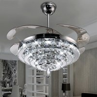 LED Crystal Chandelier Fan Lights Invisible Fan Crystal Ligh...