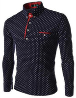Nouvelles Marques Hommes Dot À Manches Longues POLO Chemises Marques Manches Longues Camisas Polo Stand Col Polo Homme Taille 3XL XZ-029