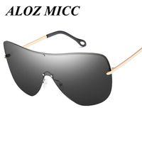 ALOZ MICC Diseñador de gafas de sol para hombre Montura de metal de gran tamaño Grandes gafas de sol polarizadas Mujeres Super Gafas Lente integrada UV400 A342