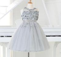 2017 Silber Tüll Prinzessin Mädchen-Partei-Kleid-Korn-Applikationen Tutu Hochzeitskleid für Weihnachten Kindergeburtstag Kleidung 12M-12Y