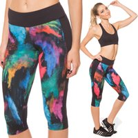 Gym Yoga Leggings Women 3D Workout Cropped Pantaloni Nuove donne 3D Colorful Print Running Jogging Sport Yoga Leggings 3/4 Pantaloni fitness