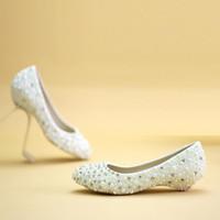 Ceremonia de boda Talón de cuña Talón de vestir bridal Zapatos de aniversario de boda Zapatos de fiesta de la boda Madre de los zapatos de novia Pink y marfil Pearl