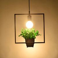 Lámpara colgante moderno loft de iluminación Plantas geométricas olla de Hierro Cuadrado Ronda araña de suspensión amer Diseñador de la Naturaleza para la decoración Restaurante Cafe