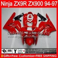 8Geschenke 23Farben für KAWASAKI NINJA ZX 9 R ZX9R 94 95 96 97 900CC 49HM11 ZX 9R ZX900 ZX900C ZX-9R 1994 1995 1996 1997 Verkleidung kit glänzend rot