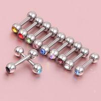 100PCS Mix Rhinestone Crystal 316L Steel Tragus helix örhängen öronpinnar barbell bar ring