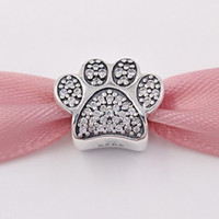 Authentic 925 Sterling Silver Beads Pavé Pata Charme Serve Pulseiras Jóias Estilo Europeu Pandora Colar 791714CZ Animal Gato De Cristal