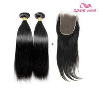 Envío libre Cierre de cordones con 2 paquetes de armadura de cabello humano Recto brasileño indio chino virgen Tramas de cabello humano con cierre
