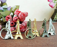 Retro Mini Paris Eiffel Tower Model Keychain Keyring Metal Split Key Ring