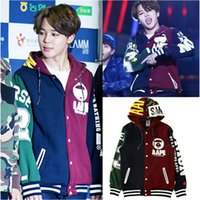 Wholesale- Kpop BTS JIMIN baseball uniform coat hoody with ha...