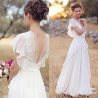 Vintage Modest Chiffon Boho Wedding Dresses With Cap Sleeves Lace Appliques Country Western Beach Bridal Gowns Formal Dress 2017